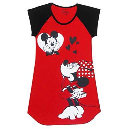 [P] Disney Juniors' Mickey & Minnie Mouse Hearts Cute Night Shirt - Red & Black (LG) - Black Minnie Mouse