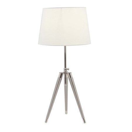 Decmode Modern White And Silver Iron Tripod Table Lamp