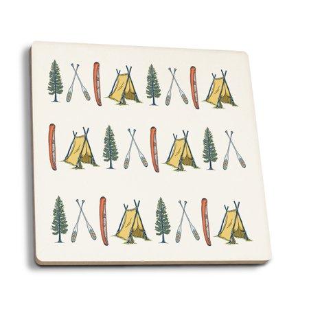 - Pattern - Canoe, Tent, Tree - Lantern Press Artwork (Set of 4 Ceramic Coasters - Cork-backed, Absorbent)