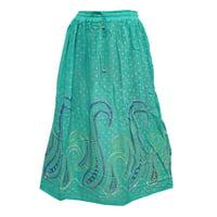 Mogul Women's Long Skirt Green Rayon Printed Golden Bootis Summer Fashion Skirts
