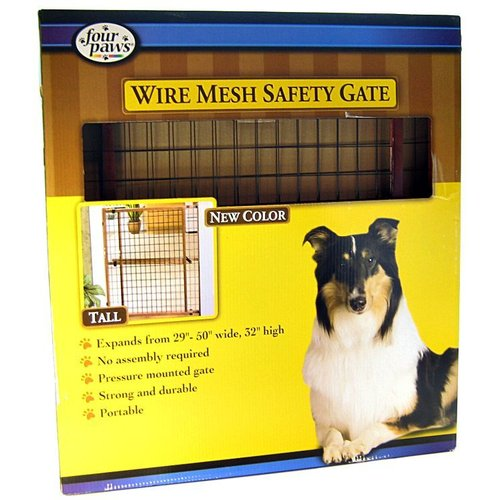Four Paws Tall Wire Mesh Safety Gate Tall Gate - (Expands 29-50 Inch Wide x 32 Inch Tall)
