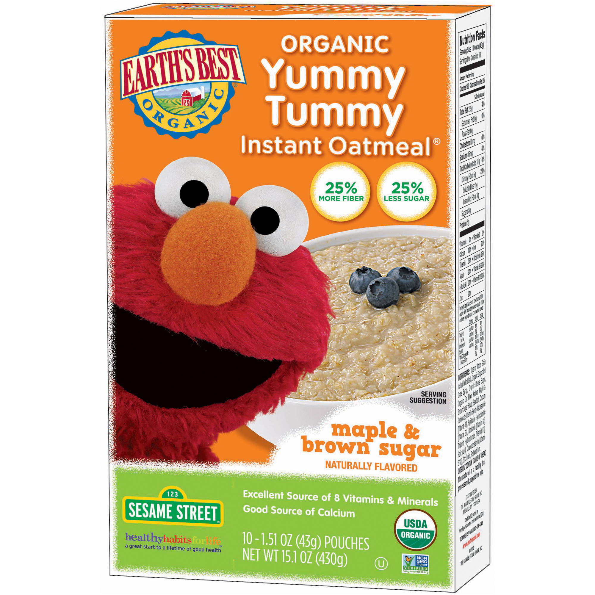 Earth's Best Sesame Street Yummy Tummy Organic  Maple & Brown Sugar Instant Oatmeal, 1.51 oz, 10 count
