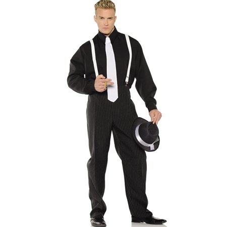 1920'S Black Pinstripe Gangster Mobster Mens Halloween Costume - 1920s Mens Halloween Costumes