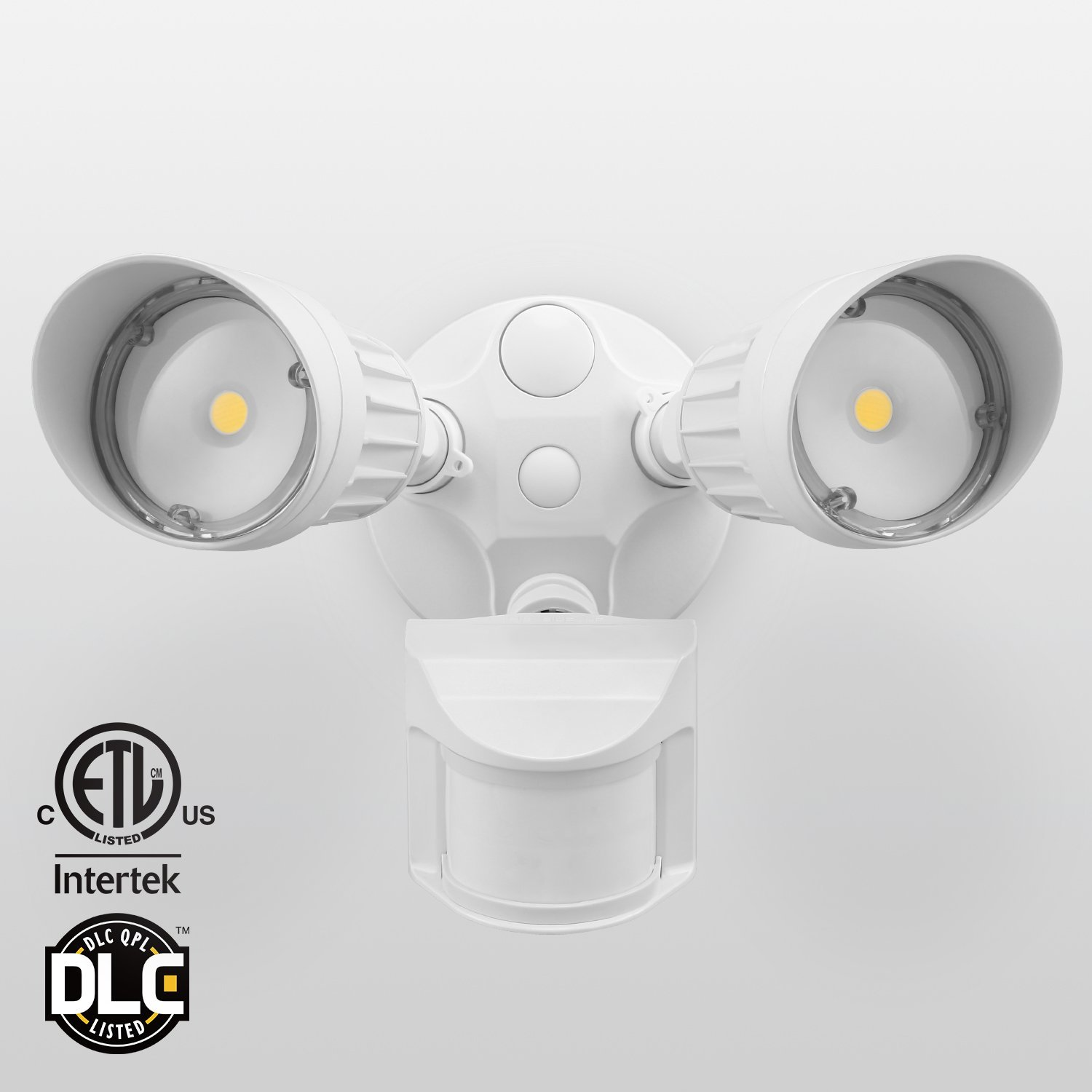 LEONLITE Dual-Head Motion-Activated LED Outdoor Security Light, Photocell Included, ETL & DLC Listed, 20W (120W Equiv.), 3 Lighting Modes, 5000K Daylight, White