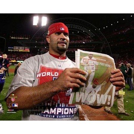 Albert Pujols Celebrates Winning Game 7 of the 2011 MLB World Series