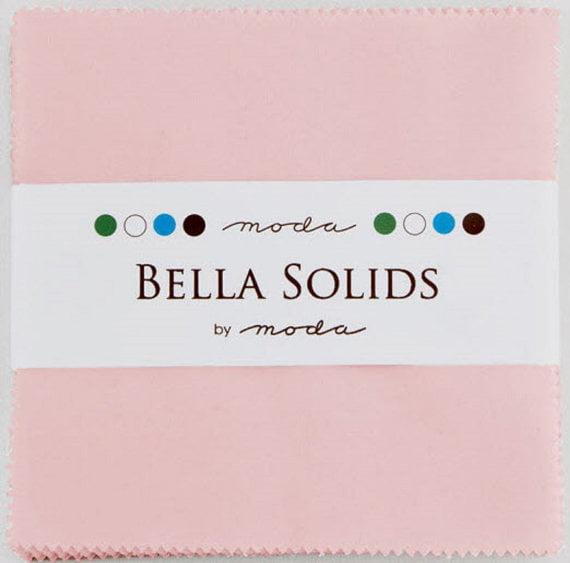 "Bella Solids Pink Moda Charm Pack; 42 - 5"" Precut Fabric Quilt Squares"