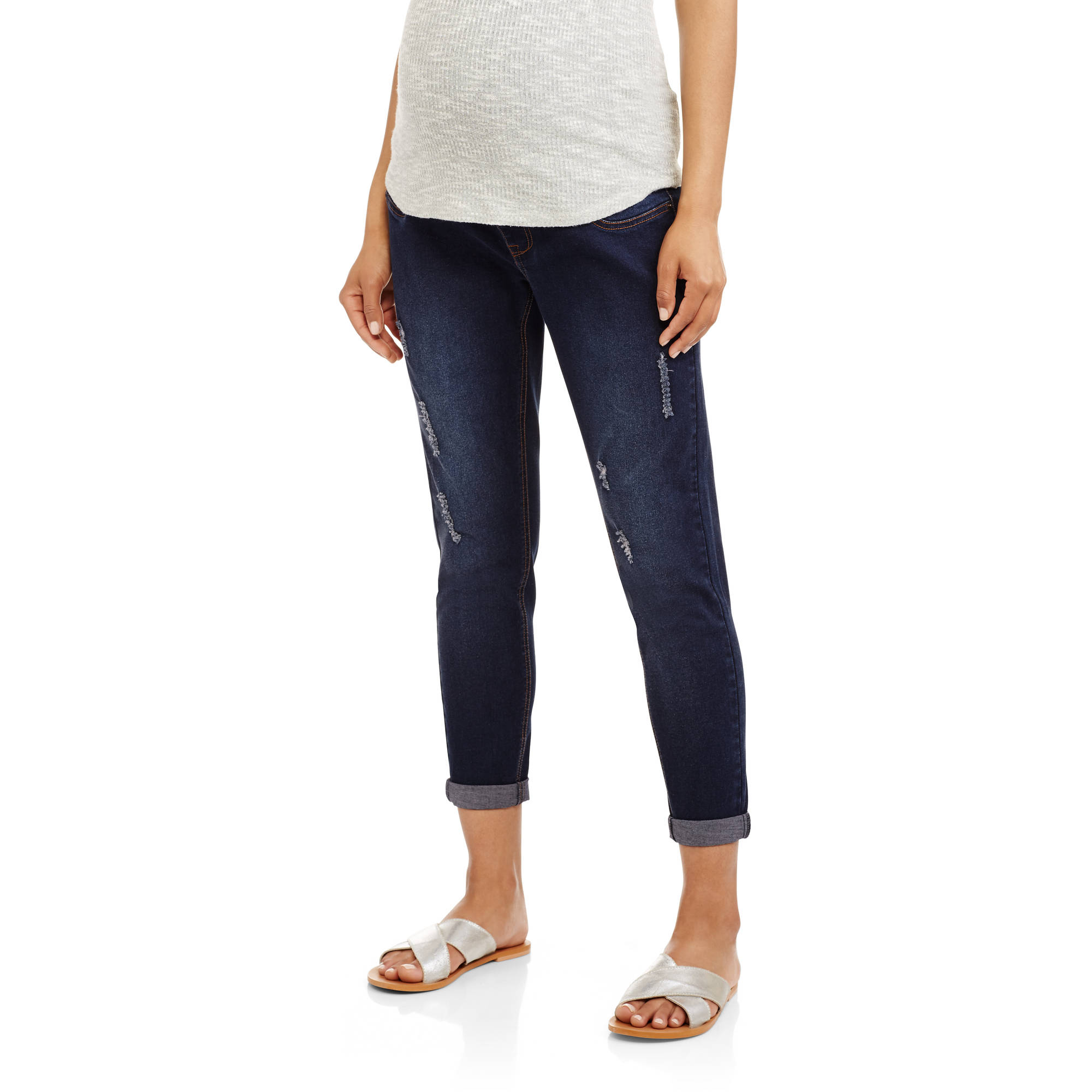 Planet Motherhood Maternity, Over Belly Seamless Banded, Destructed Raw Edge Cropped Denim Jeans