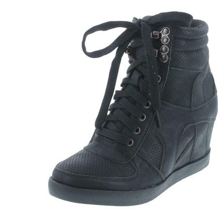 Refresh Footwear Women's High Top Hidden Wedge Fashion Sneaker, Black, 8 Black High Wedge