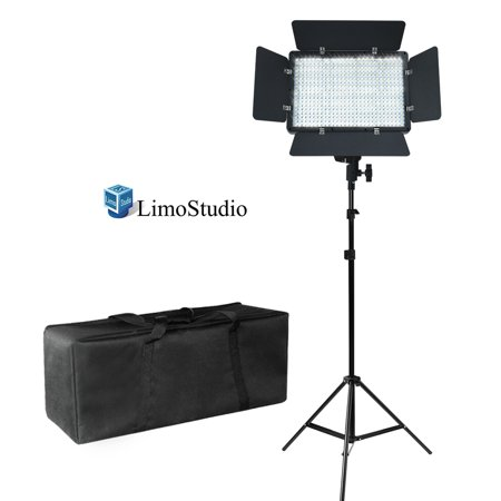 Loadstone Studio LED Barn Door Light Panel with Light Stand Tripod & Heavy Duty Carry Case Bag, Dimmable Brightness Control, Color Filter Gel White / Orange, Continuous Lighting Kit, - Tri Panel 9 Light