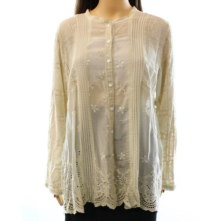 79edb65d Johnny Was - Johnny Was NEW Beige Women's Size Large L Eyelet Button ...