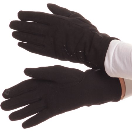 Sakkas Lidy Leather Embroidered Comfortable Warm Snow Touch Screen Finger Gloves - Black - S/M