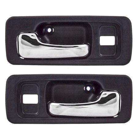 Pair Set Front Inside Inner Blue & Chrome Power Door Handles w/ Lock Holes Replacement for Honda Accord Sedan HO1351134 HO1352134