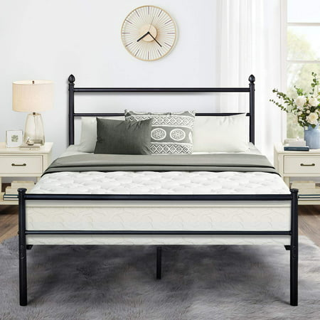 Metal Platform Queen Bed Frame /Bed, Box Spring Replacement with Headboard