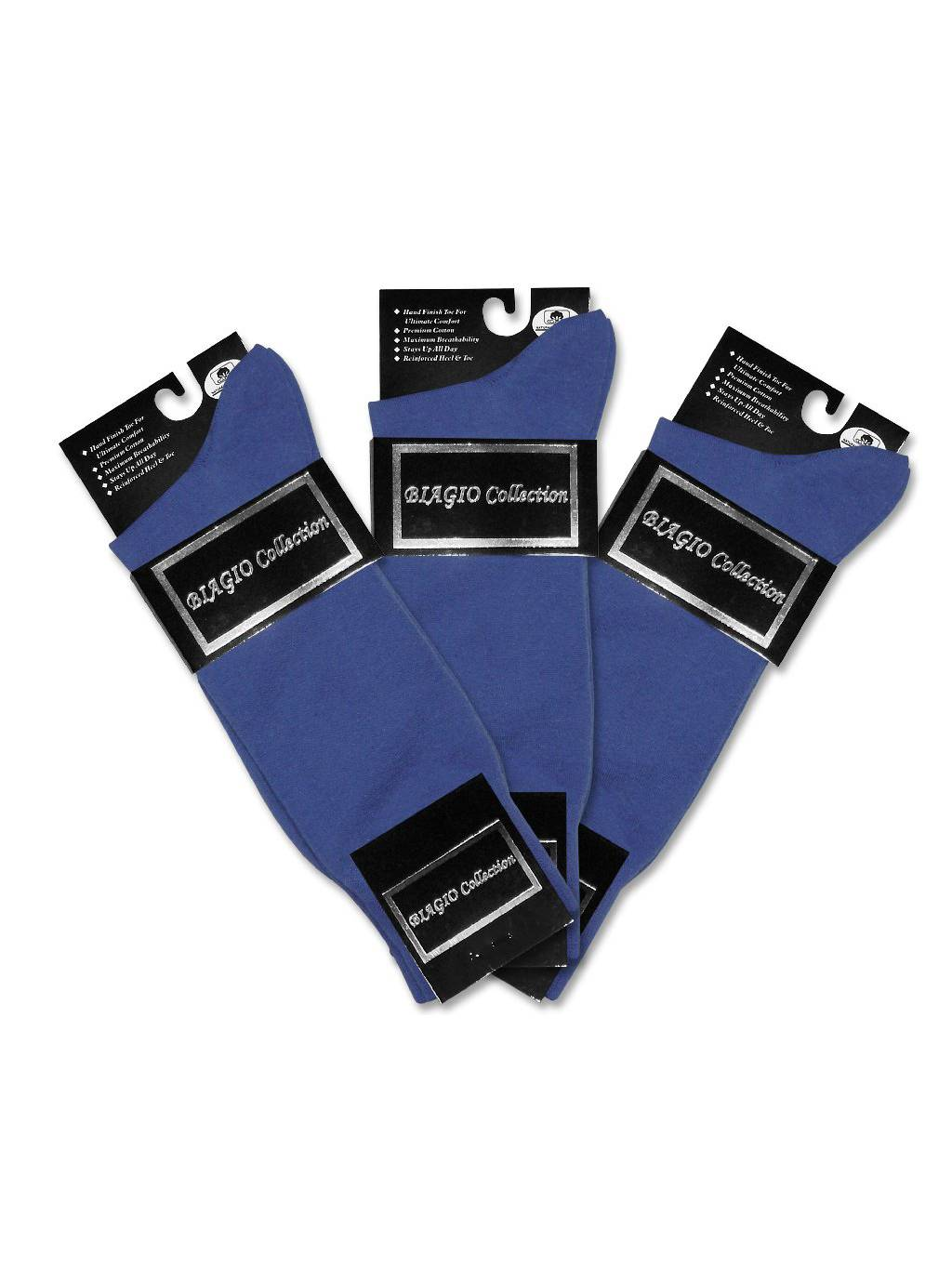 3 Pair of Biagio Solid ROYAL BLUE Color Men's COTTON Dress SOCKS