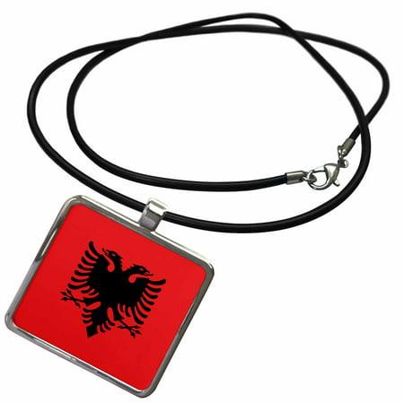 3dRose Flag of Albania - Albanian black double headed eagle on red - Balkans Eastern Europe European world - Necklace with Pendant (ncl_159836_1) (Albanian Eagle)