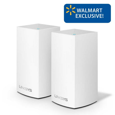 Linksys Velop Dual Band AC2400 Intelligent Mesh WiFi Router Replacement System | 2 Pack | Coverage up to 3,000 Sq Ft | Walmart Exclusive
