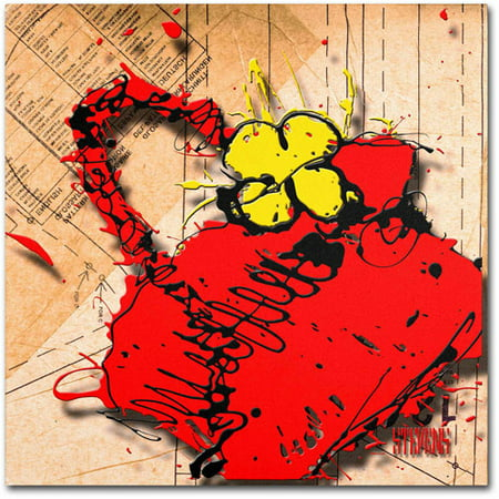 "Trademark Fine Art ""Flower Purse Yellow on Red"" Canvas Art by Roderick Stevens"