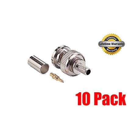 ® Professional RG59/62 BNC Male Crimp-On Connector, 3 piece set (10pcs), iMBAPrice® Professional RG59/62 BNC Male Crimp-On Connector, 3 piece set (10pcs) By (62 Male Crimp)