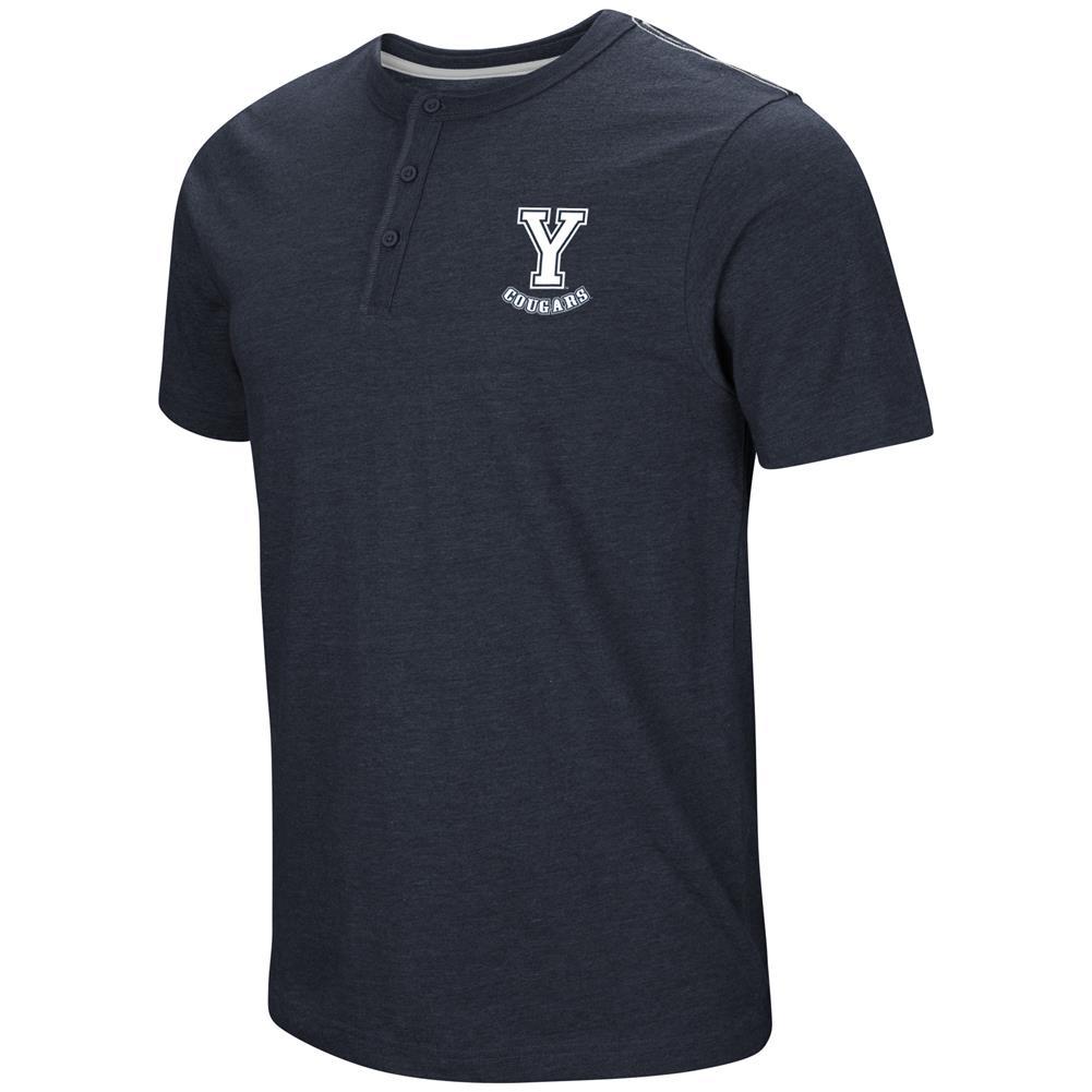 BYU Brigham Young University Henley Shirt Men's Short Sleeve T-Shirt