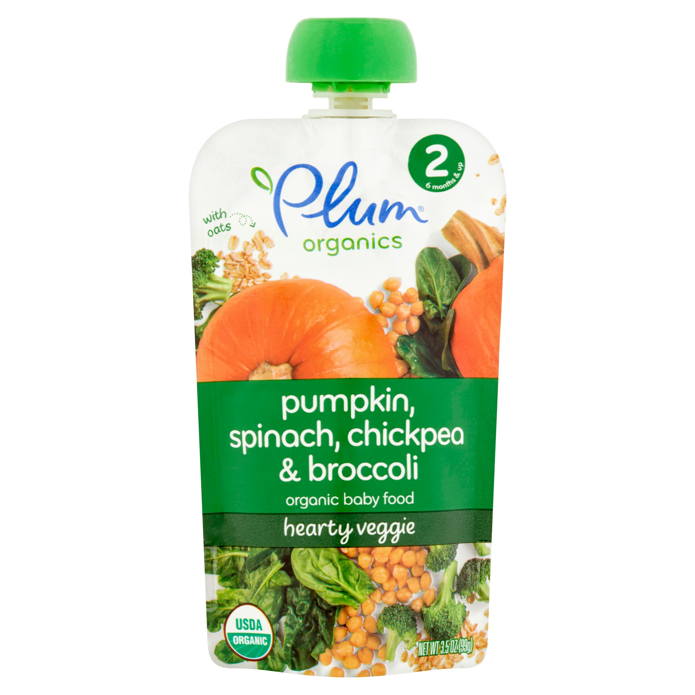 Plum Organics Spinach, Pumpkin & Chickpea Stage 2 Organic Baby Food, 3.5 oz, 6 count