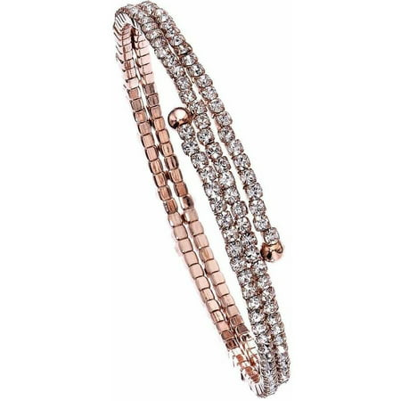 Austrian Crystal Bangle (Women's Handset Austrian Crystals 14kt Rose Gold-Plated 2-Row Flex Bangle )