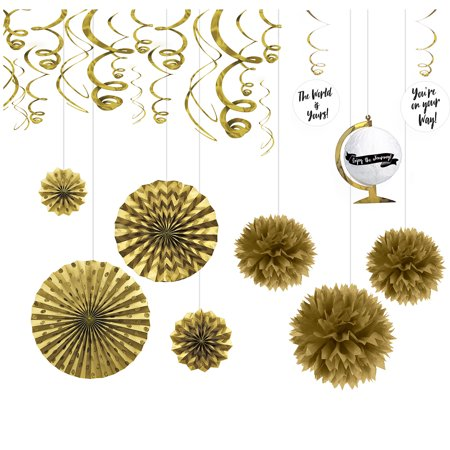 Party City Metallic Gold The Adventure Begins Graduation Decoration Kit - Coupon For Party City