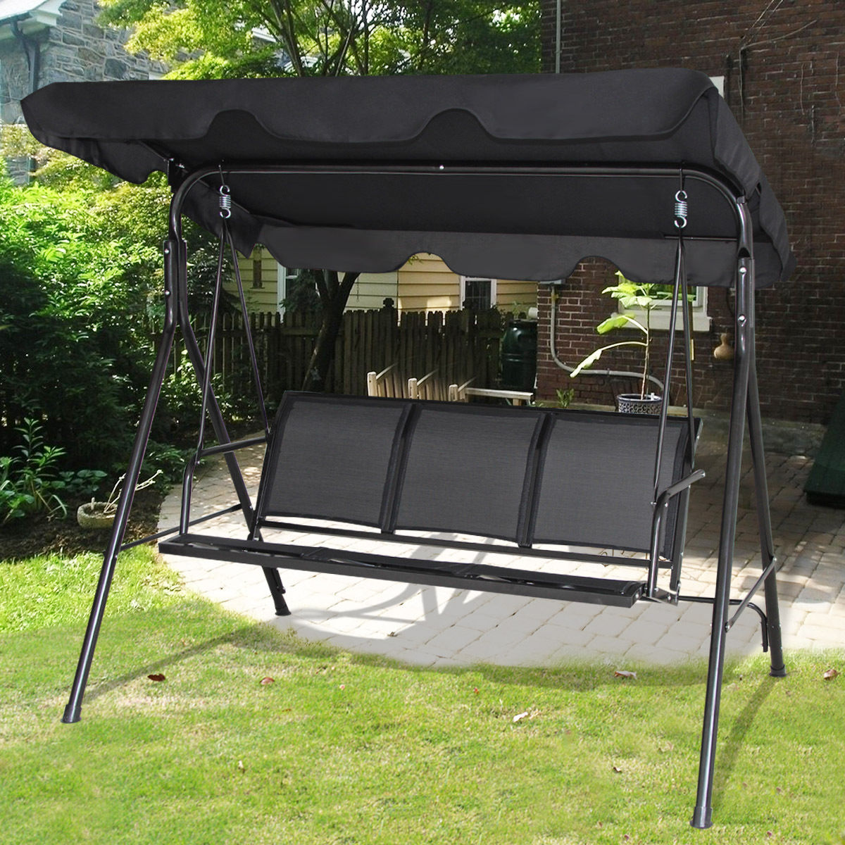 Gymax Black Outdoor Swing Canopy Patio Swing Chair 3 Person Canopy Hammock by Gymax