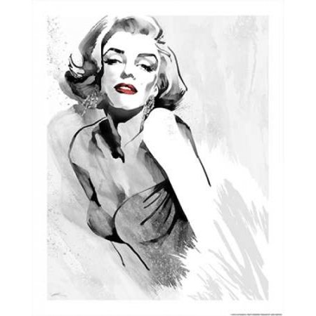 Marilyns Pose Red Lips Poster Print By Ellie Rahim