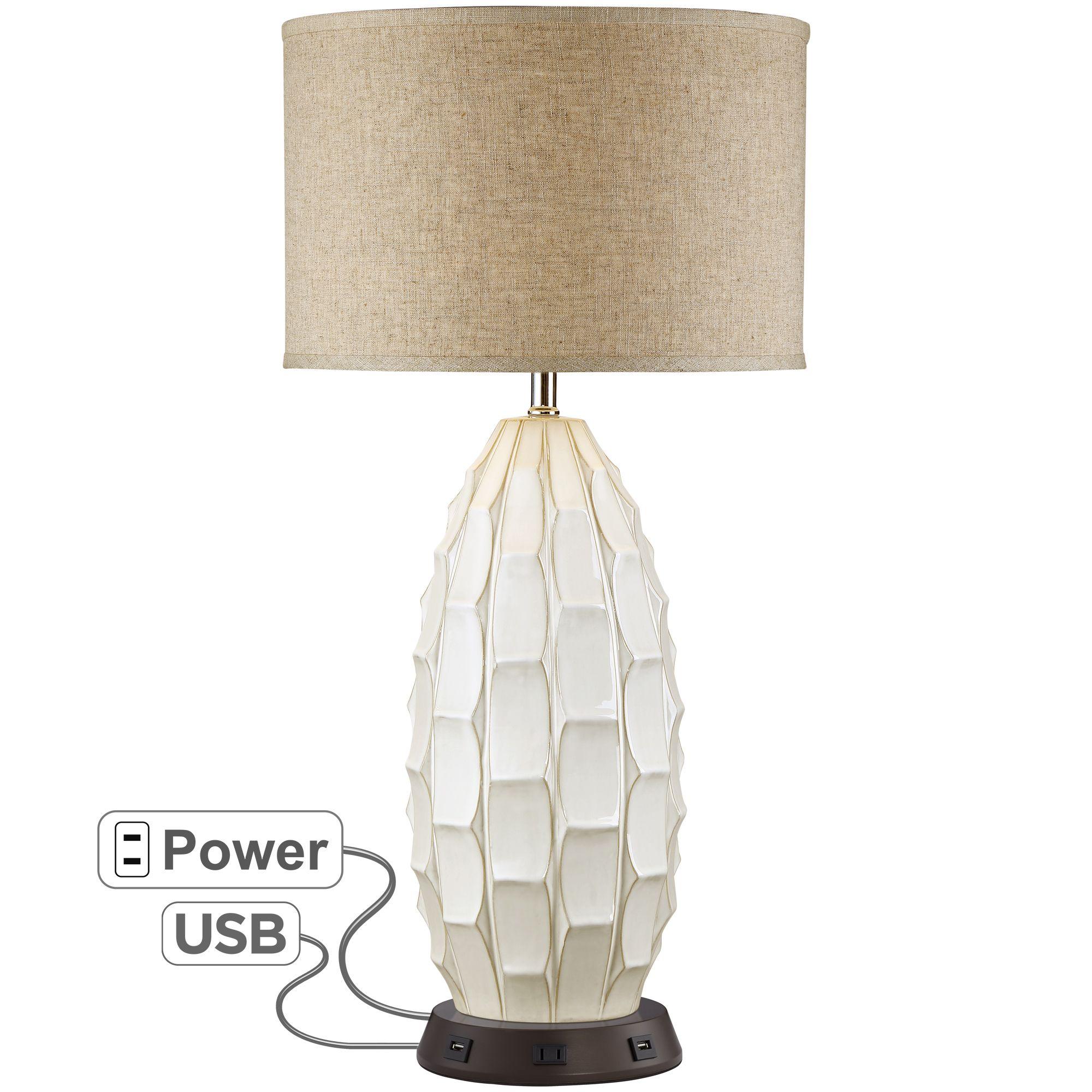 Possini Euro Design Mid Century Modern Table Lamp with USB ...
