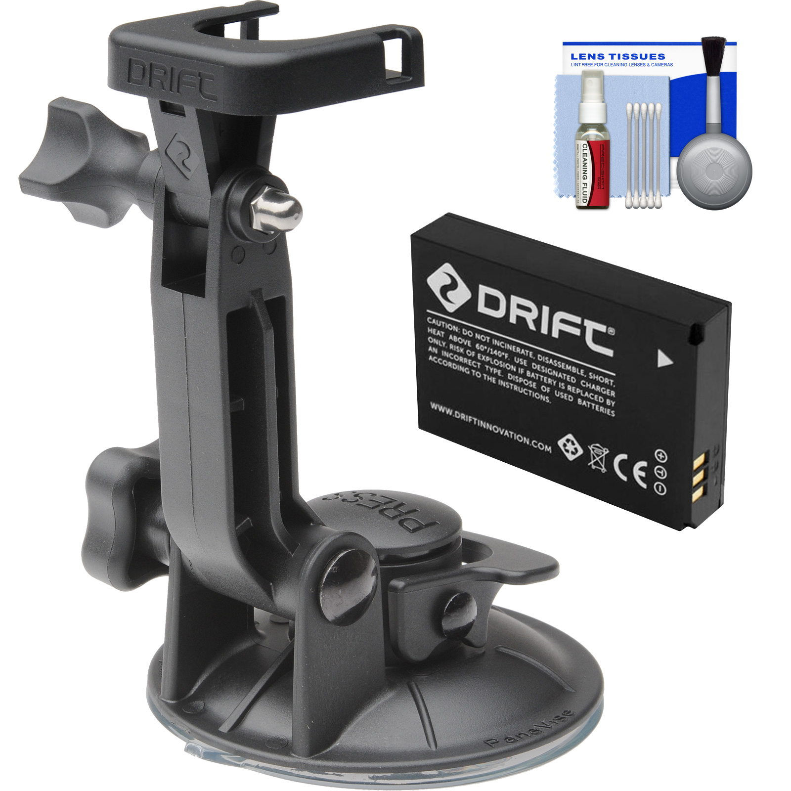 Drift Innovation Suction Cup Mount with Battery + Cleaning Kit for HD Ghost & Ghost-S Action Camcorders