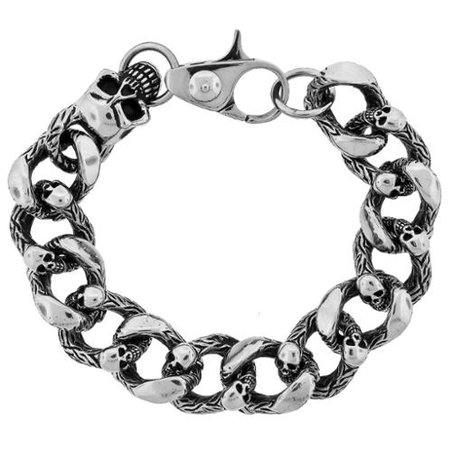 BIG Jewelry Co Stainless Steel Men's Skull Chunky Chain Bracelet