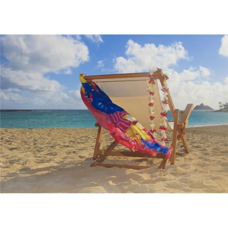 Hawaii Oahu Kailua A Lounge Chair On The White Sandy Beach of Lanikai Poster Print, 18 x 13 - image 1 of 1