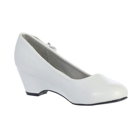 Girls White Bow Gina Special Occasion Dress Wedge Shoes 4 Kids