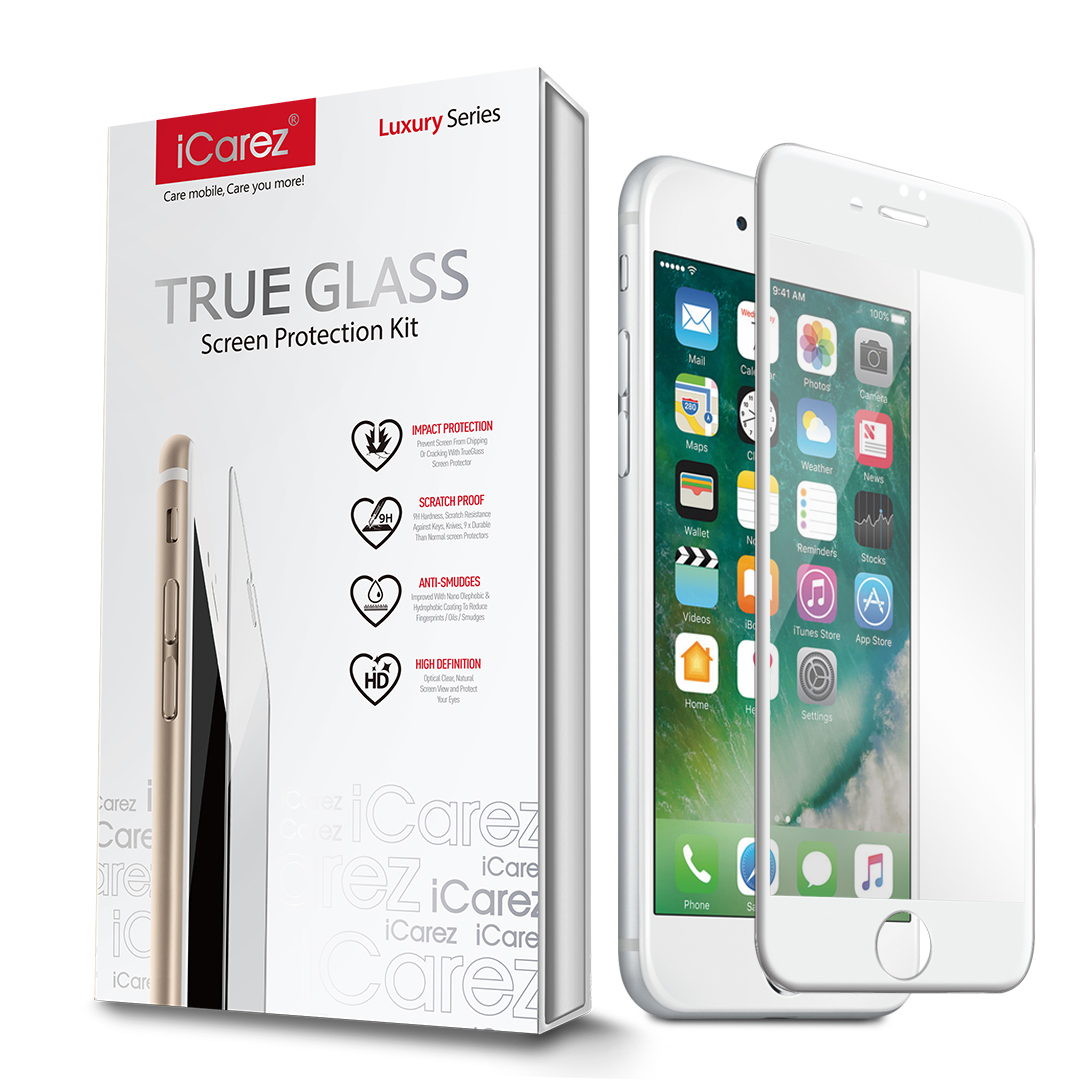 iCarez [White Full Cover Glass] Screen Protector for iPhone 7 Plus 5.5 inch Easy Install [ 1 Pack 0.33MM 9H 2.5D] with Lifetime Replacement Warranty - Retail Packaging