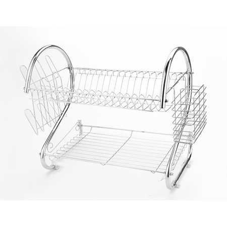 2 Tier Dish Rack Stainless Steel Dish Drainer Dryer Tray