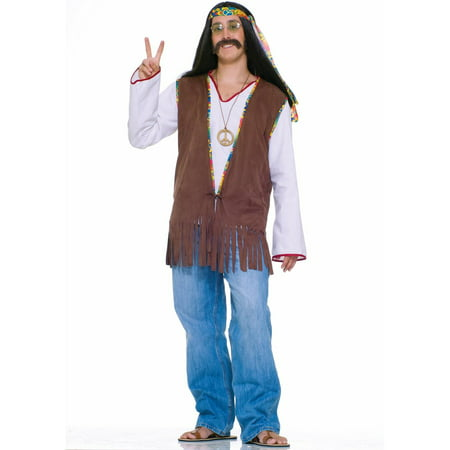 Faux Suede Hippie Vest Costume - Standard (One-Size) - Teen Hippie Costume