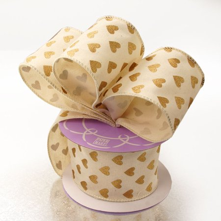 Cotton 2-1/2 inches x 10 yards Natural Gold Heart Wired Decorative Ribbon