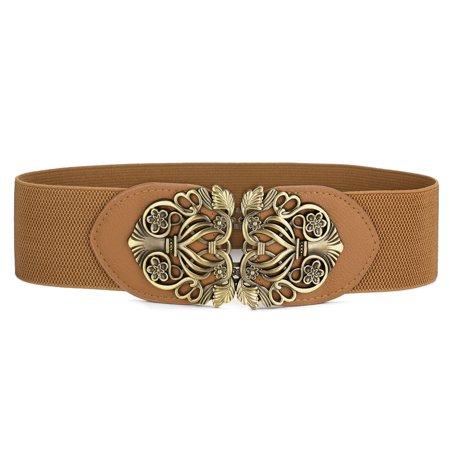 Knot Woven Metal Interlocking Buckle Textured Elastic Stretchy Cinch Waistband Waist Belt