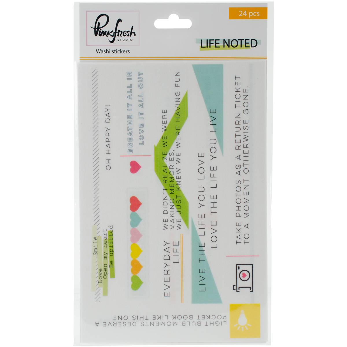"Life Noted Washi Tape Stickers 4""X6"" 3/Sheets-"