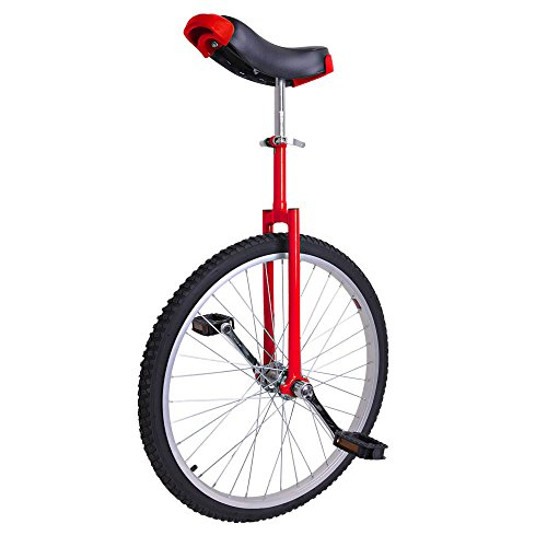"24"" Inch Tire Chrome Unicycle Wheel Training Style Cycling  Saddel Seat Balance Mountain Exercise Bike - Red"