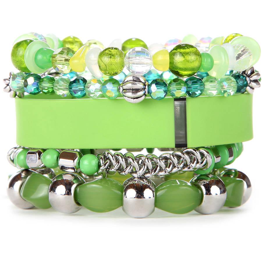 Lime Stacked Fitness Tracker Bracelet Set