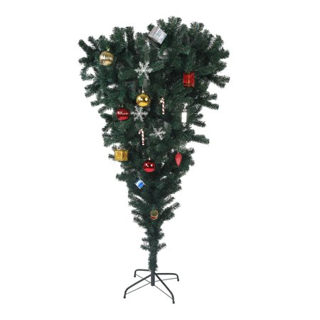 KARMAS PRODUCT 5.5ft Christmas Tree Upside Down 578 Tips Full Tree with Decorations and Metal Stand for Xmas Day New Year, Green ()