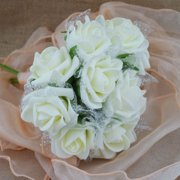 Quasimoon Beige/Ivory 5-Rose Realistic Crafting Glitter Floral Wedding Bouquet w/ Tulle by PaperLanternStore