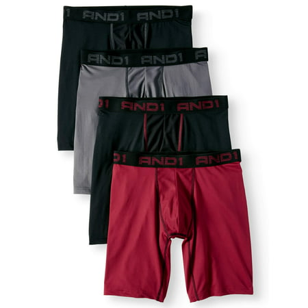 AND1 Long Length Boxer Briefs, 4-Pack, Black Red, S