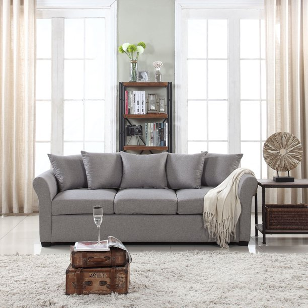 Mobilis Classic and Traditional Ultra Comfortable Linen 3 Seater Sofa, Light Grey