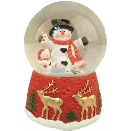 Elegantoss Christmas Musical Snowman Snow Globe Water Ball in Polyresin ()