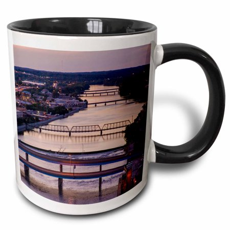 3dRose Many bridges span the Grand River, Grand Rapids, Michigan, USA - Two Tone Black Mug, 11-ounce - Grand Rapids Halloween Usa