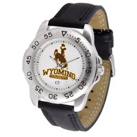 """Wyoming Cowboys NCAA """"Sport"""" Mens Watch (Leather Band)"""