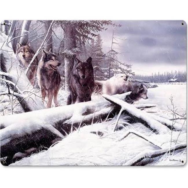 15 x 12 in. Serenity Wolves in Snow Plasma Metal Sign - image 1 de 1