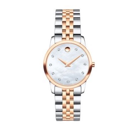 Movado Museum (Museum Classic Diamond, Mother-of-Pearl, Rose Gold & Stainless Steel Link Bracelet Watch )